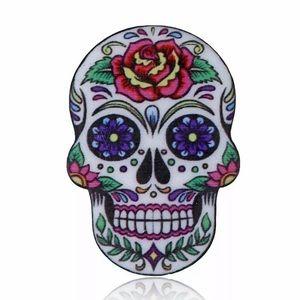 Acrylic Dia De Los Muertos Skull Pin